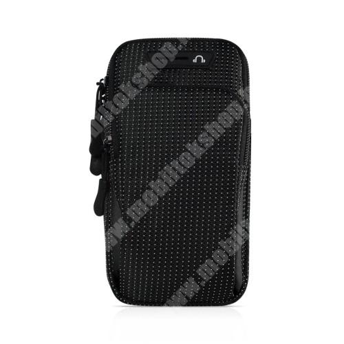 Blackphone UNIVERZÁLIS Sport tok / karpánt - FEKETE - álló, cipzár, vízálló, fülhallgató nyílás, több fakkos, 26cm hosszú karpánt - külső méret: 175 x 95 x 35mm, első zseb belső mérete: 125 x 80mm, hátsó zseb belső mérete: 160 x 90mm