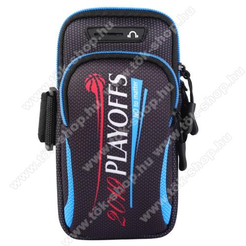 UNIVERZÁLIS Sport tok / karpánt - FEKETE / FEHÉR - álló, cipzár, több fakkos, 28cm hosszú karpánt, fülhallgató nyílás - 190 x 90mm