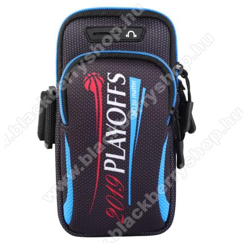 UNIVERZÁLIS Sport tok / karpánt - FEKETE / FEHÉR - álló, cipzár, több fakkos, 28cm hosszú karpánt, fülhallgató nyílás - külső méret: 190 x 90mm, első zseb belső mérete: 130 x 80mm, hátsó zseb belső mérete: 160 x 75mm