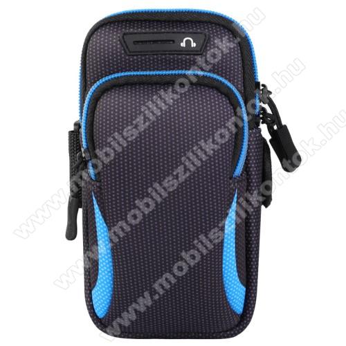 UNIVERZÁLIS Sport tok / karpánt - FEKETE / KÉK - álló, cipzár, több fakkos, 28cm hosszú karpánt, fülhallgató nyílás - 190 x 90mm