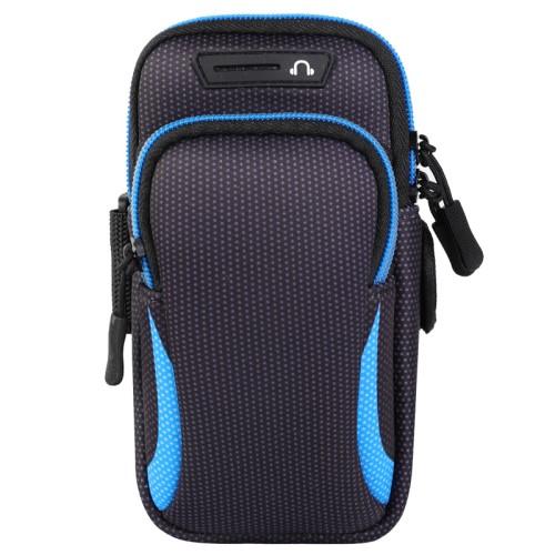 UNIVERZÁLIS Sport tok / karpánt - FEKETE / KÉK - álló, cipzár, több fakkos, 28cm hosszú karpánt, fülhallgató nyílás - külső méret: 190 x 90mm, első zseb belső mérete: 130 x 80mm, hátsó zseb belső mérete: 160 x 75mm