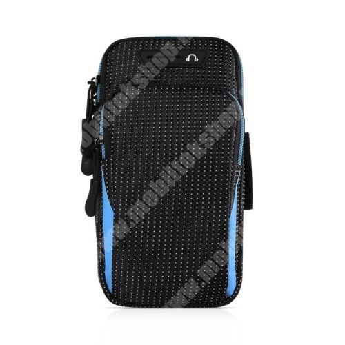 Blackphone UNIVERZÁLIS Sport tok / karpánt - FEKETE / KÉK - álló, cipzár, vízálló, fülhallgató nyílás, több fakkos, 26cm hosszú karpánt - külső méret: 175 x 95 x 35mm, első zseb belső mérete: 125 x 80mm, hátsó zseb belső mérete: 160 x 90mm