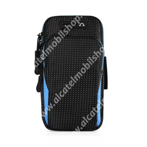 UNIVERZÁLIS Sport tok / karpánt - FEKETE / KÉK - álló, cipzár, vízálló, fülhallgató nyílás, több fakkos, 26cm hosszú karpánt - külső méret: 175 x 95 x 35mm, első zseb belső mérete: 125 x 80mm, hátsó zseb belső mérete: 160 x 90mm