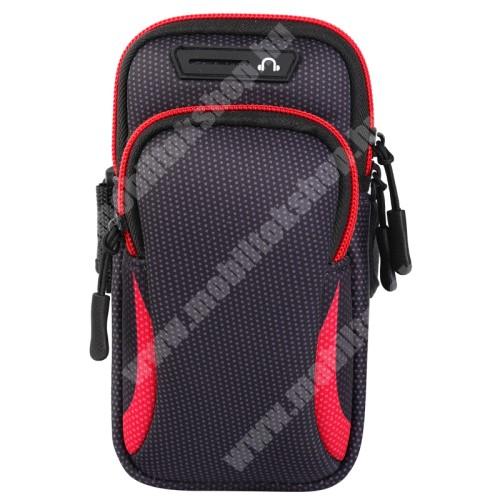 Elephone P3000 UNIVERZÁLIS Sport tok / karpánt - FEKETE / PIROS - álló, cipzár, több fakkos, 28cm hosszú karpánt, fülhallgató nyílás - 190 x 90mm