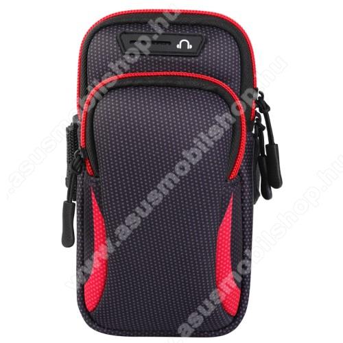 ASUS A716UNIVERZÁLIS Sport tok / karpánt - FEKETE / PIROS - álló, cipzár, több fakkos, 28cm hosszú karpánt, fülhallgató nyílás - 190 x 90mm