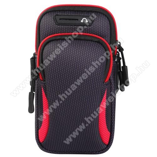 HUAWEI U8950D Ascend G600UNIVERZÁLIS Sport tok / karpánt - FEKETE / PIROS - álló, cipzár, több fakkos, 28cm hosszú karpánt, fülhallgató nyílás - 190 x 90mm