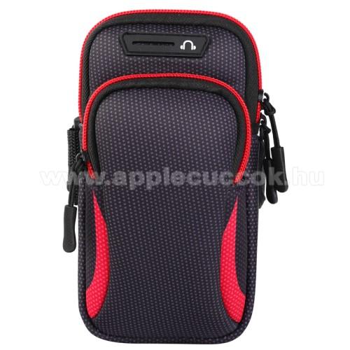 UNIVERZ�LIS Sport tok / karp�nt - FEKETE / PIROS - �ll�, cipz�r, t�bb fakkos, 28cm hossz� karp�nt, f�lhallgat� ny�l�s - 190 x 90mm