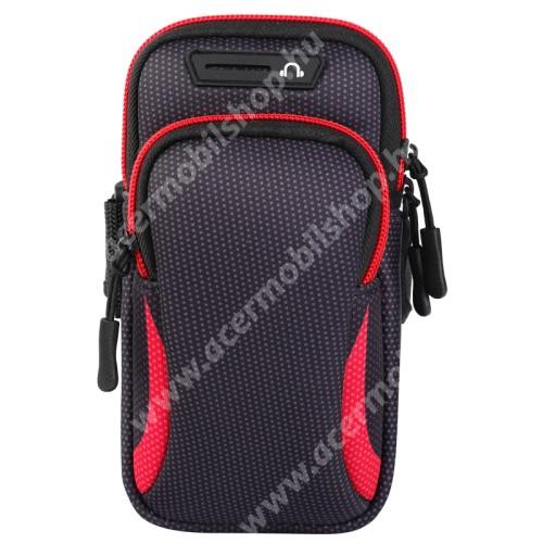 UNIVERZÁLIS Sport tok / karpánt - FEKETE / PIROS - álló, cipzár, több fakkos, 28cm hosszú karpánt, fülhallgató nyílás - külső méret: 190 x 90mm, első zseb belső mérete: 130 x 80mm, hátsó zseb belső mérete: 160 x 75mm