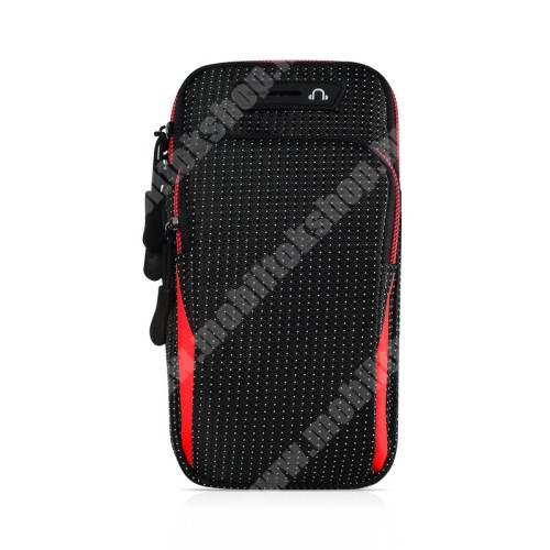 Blackphone UNIVERZÁLIS Sport tok / karpánt - FEKETE / PIROS - álló, cipzár, vízálló, fülhallgató nyílás, több fakkos, 26cm hosszú karpánt - külső méret: 175 x 95 x 35mm, első zseb belső mérete: 125 x 80mm, hátsó zseb belső mérete: 160 x 90mm