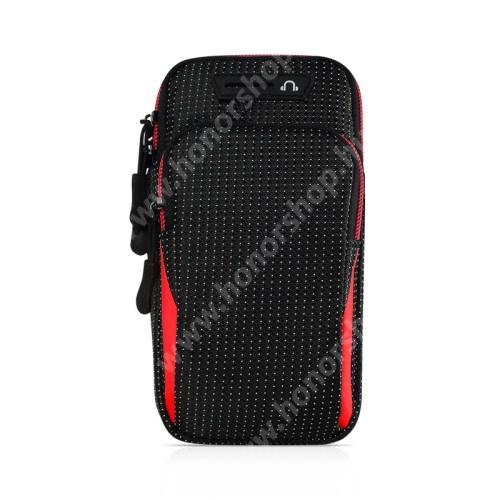 UNIVERZÁLIS Sport tok / karpánt - FEKETE / PIROS - álló, cipzár, vízálló, fülhallgató nyílás, több fakkos, 26cm hosszú karpánt - külső méret: 175 x 95 x 35mm, első zseb belső mérete: 125 x 80mm, hátsó zseb belső mérete: 160 x 90mm