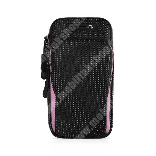 Blackphone UNIVERZÁLIS Sport tok / karpánt - FEKETE / RÓZSASZÍN - álló, cipzár, vízálló, fülhallgató nyílás, több fakkos, 26cm hosszú karpánt - külső méret: 175 x 95 x 35mm, első zseb belső mérete: 125 x 80mm, hátsó zseb belső mérete: 160 x 90mm