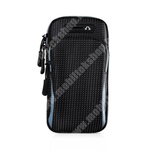 Blackphone UNIVERZÁLIS Sport tok / karpánt - FEKETE / VILÁGOSKÉK - álló, cipzár, vízálló, fülhallgató nyílás, több fakkos, 26cm hosszú karpánt - külső méret: 175 x 95 x 35mm, első zseb belső mérete: 125 x 80mm, hátsó zseb belső mérete: 160 x 90mm