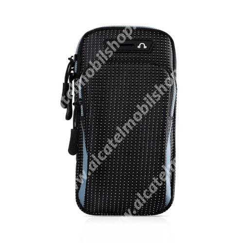 UNIVERZÁLIS Sport tok / karpánt - FEKETE / VILÁGOSKÉK - álló, cipzár, vízálló, fülhallgató nyílás, több fakkos, 26cm hosszú karpánt - külső méret: 175 x 95 x 35mm, első zseb belső mérete: 125 x 80mm, hátsó zseb belső mérete: 160 x 90mm