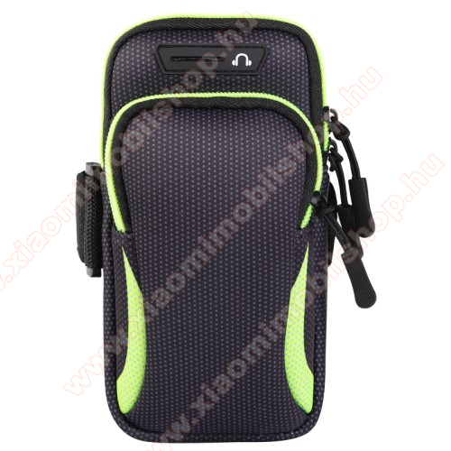 UNIVERZÁLIS Sport tok / karpánt - FEKETE / ZÖLD - álló, cipzár, több fakkos, 28cm hosszú karpánt, fülhallgató nyílás - külső méret: 190 x 90mm, első zseb belső mérete: 130 x 80mm, hátsó zseb belső mérete: 160 x 75mm
