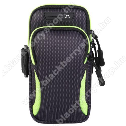 UNIVERZÁLIS Sport tok / karpánt - FEKETE / ZÖLD - álló, cipzár, több fakkos, 28cm hosszú karpánt, fülhallgató nyílás - 190 x 90mm