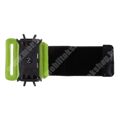 Blackphone UNIVERZÁLIS SPORT tok / karpánt - FEKETE / ZÖLD - 360°-ban forgatható, min. 135 x 65mm, max. 170 x 85mm méretű készülékekhez