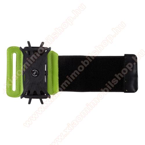 UNIVERZÁLIS SPORT tok / karpánt - FEKETE / ZÖLD - 360°-ban forgatható, min. 135 x 65mm, max. 170 x 85mm méretű készülékekhez
