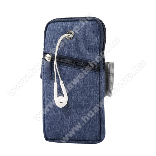 UNIVERZÁLIS Sport tok / karpánt - KÉK - álló, zipzár, karpánt 22-38 cm-ig állítható, fülhallgató nyílás - 180 x 95 mm