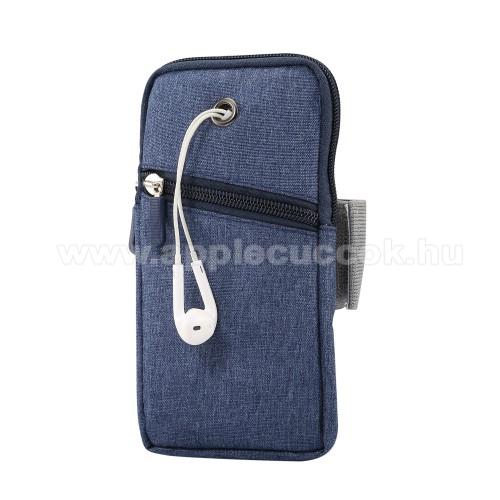 APPLE iPhone 12 miniUNIVERZÁLIS Sport tok / karpánt - KÉK - álló, zipzár, karpánt 22-38 cm-ig állítható, fülhallgató nyílás - 180 x 95 mm