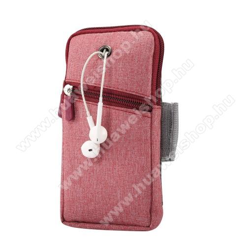 UNIVERZÁLIS Sport tok / karpánt - PIROS - álló, zipzár, karpánt 22-38 cm-ig állítható, fülhallgató nyílás - 180 x 95 mm