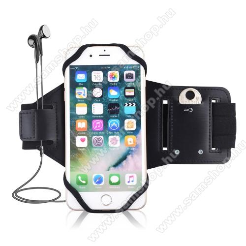 SAMSUNG Galaxy A51 (SM-A515F)UNIVERZÁLIS Sport tok / karpánt - szilikon telefontartó rész, beépített kulcstartó zseb, fülhallgató nyílás, min 115 x 50mm, max 180 x 95mm készülékekhez ajánlott - FEKETE