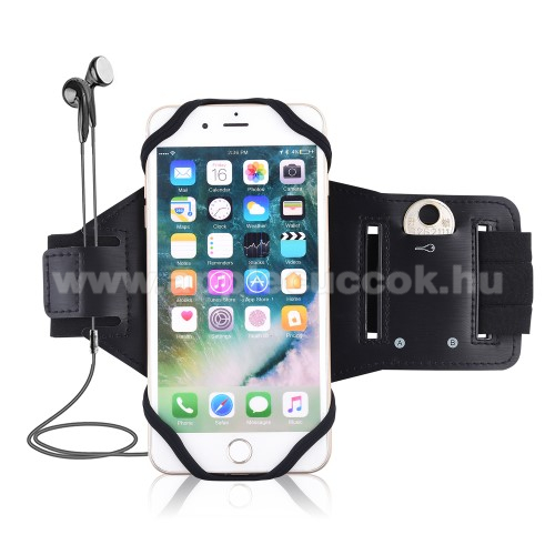 APPLE iPhone 8 PlusUNIVERZÁLIS Sport tok / karpánt - szilikon telefontartó rész, beépített kulcstartó zseb, fülhallgató nyílás, min 115 x 50mm, max 180 x 95mm készülékekhez ajánlott - FEKETE