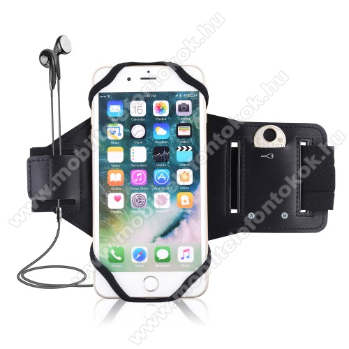 Blackview A80UNIVERZÁLIS Sport tok / karpánt - szilikon telefontartó rész, beépített kulcstartó zseb, fülhallgató nyílás, min 115 x 50mm, max 180 x 95mm készülékekhez ajánlott - FEKETE
