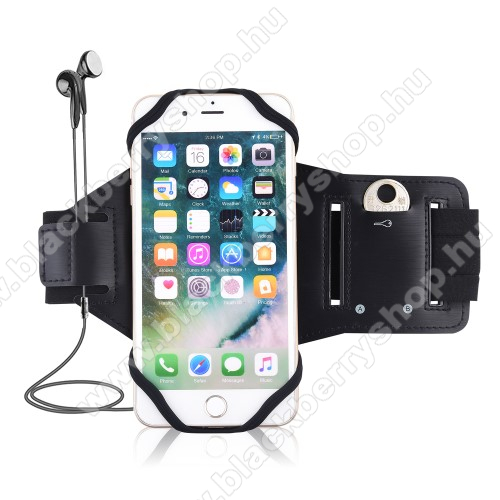 UNIVERZÁLIS Sport tok / karpánt - szilikon telefontartó rész, beépített kulcstartó zseb, fülhallgató nyílás, min 115 x 50mm, max 180 x 95mm készülékekhez ajánlott - FEKETE