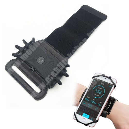 Blackphone UNIVERZÁLIS Sport tok / karpánt - szilikon telefontartó rész, 360°-ban forgatható, min 115 x 50mm, max 180 x 95mm készülékekhez ajánlott - FEKETE