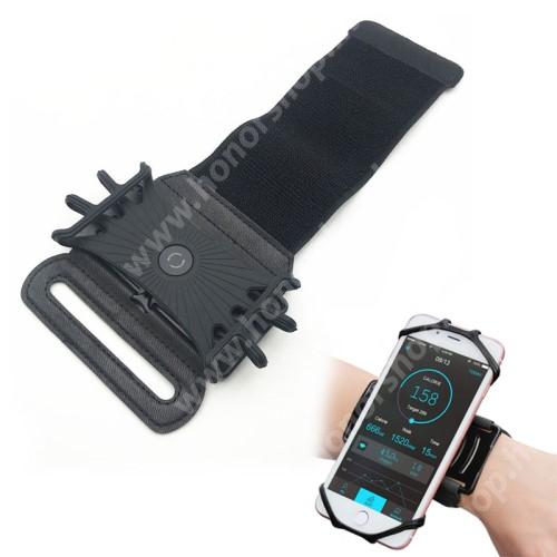 HUAWEI Honor V40 5G UNIVERZÁLIS Sport tok / karpánt - szilikon telefontartó rész, 360°-ban forgatható, min 115 x 50mm, max 180 x 95mm készülékekhez ajánlott - FEKETE