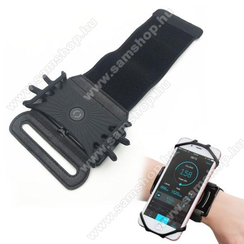 UNIVERZÁLIS Sport tok / karpánt - szilikon telefontartó rész, 360°-ban forgatható, min 115 x 50mm, max 180 x 95mm készülékekhez ajánlott - FEKETE