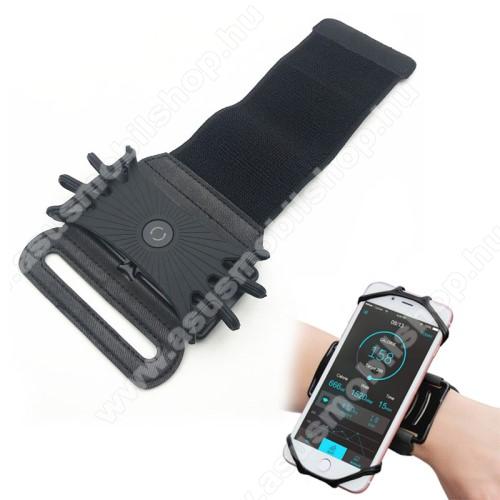 Asus P525UNIVERZÁLIS Sport tok / karpánt - szilikon telefontartó rész, 360°-ban forgatható, min 115 x 50mm, max 180 x 95mm készülékekhez ajánlott - FEKETE
