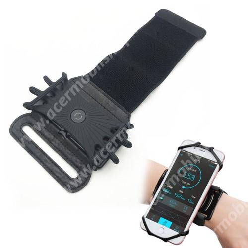 ACER F1 NeoTouch S200 UNIVERZÁLIS Sport tok / karpánt - szilikon telefontartó rész, 360°-ban forgatható, min 115 x 50mm, max 180 x 95mm készülékekhez ajánlott - FEKETE