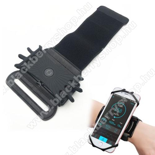BLACKBERRY 7750UNIVERZÁLIS Sport tok / karpánt - szilikon telefontartó rész, 360°-ban forgatható, min 115 x 50mm, max 180 x 95mm készülékekhez ajánlott - FEKETE