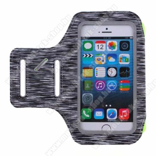 UNIVERZÁLIS SPORT tok / karpánt - SZÜRKE - kulcstartó zseb, fülhallgató nyílás, 6