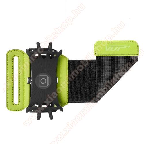 UNIVERZÁLIS SPORT tok / karpánt - ZÖLD - 180°-ban forgatható, max 162 x 77 x 9mm méretű készülékekhez