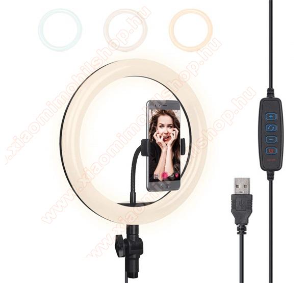UNIVERZÁLIS szelfi lámpa - kör alakú, LED fény, 3000-5000K, 3 féle szín, USB kábel - FEKETE