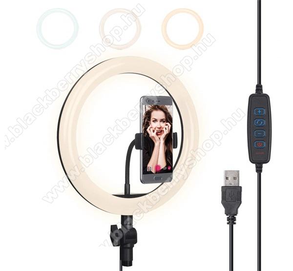 BLACKBERRY 8700gUNIVERZÁLIS szelfi lámpa - kör alakú, LED fény, 3000-5000K, 3 féle szín, USB kábel - FEKETE