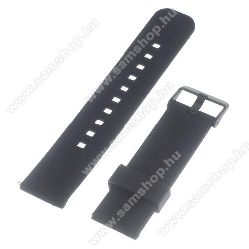 SAMSUNG SM-R380 Gear 2UNIVERZÁLIS szilikon okosóra szíj - FEKETE - Samsung Gear 2 R380 / LG G Watch W100 / LG G Watch R W110 / Asus Zenwatch