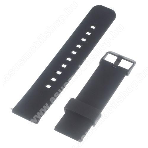 ASUS ZenwatchUNIVERZÁLIS szilikon okosóra szíj - FEKETE - Samsung Gear 2 R380 / LG G Watch W100 / LG G Watch R W110 / Asus Zenwatch