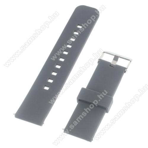 SAMSUNG SM-R380 Gear 2UNIVERZÁLIS szilikon okosóra szíj - SZÜRKE - Samsung Gear 2 R380 / LG G Watch W100 / LG G Watch R W110 / Asus Zenwatch