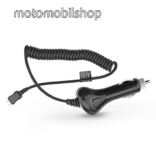 MOTOROLA Q9 UNIVERZÁLIS szivargyújtós töltő / autós töltő - beépített microUSB spirálkábel, 5V/2A - FEKETE