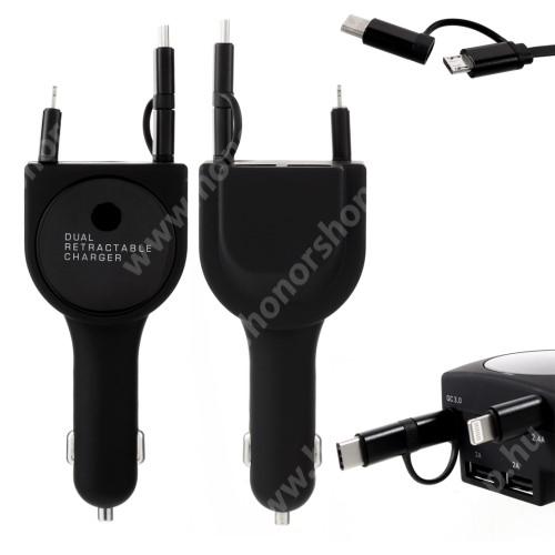 HUAWEI Honor V40 5G UNIVERZÁLIS szivargyújtós töltő / autós töltő + 3in1 felcsévélhető töltőkábel - EXTRA 2x USB aljzat: 5V/2A, gyorstötlés támogatás, 5V / 3.1A, 80cm-ig kihúzható töltőkábellel (Lightning, microUSB, Type-C) - FEKETE