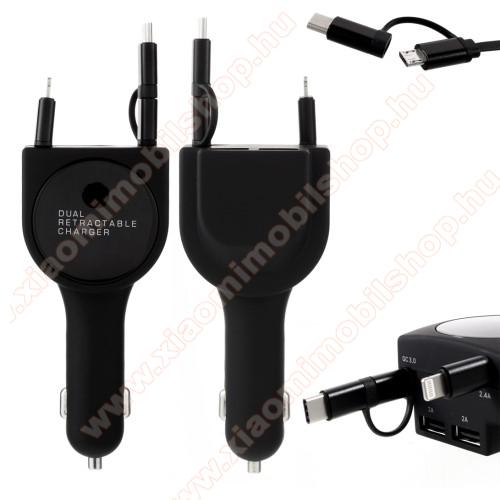 UNIVERZÁLIS szivargyújtós töltő / autós töltő + 3in1 felcsévélhető töltőkábel - EXTRA 2x USB aljzat: 5V/2A, gyorstötlés támogatás, 5V / 3.1A, 80cm-ig kihúzható töltőkábellel (Lightning, microUSB, Type-C) - FEKETE