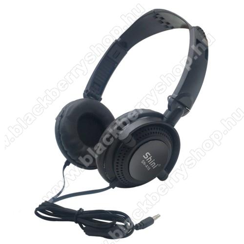 UNIVERZÁLIS sztereó fejhallgató / headset - 3.5mm Jack, mikrofon, multifunkciós gomb, 40mm hangszóró, 90°-ban összecsukható, 1,2m hosszú vezeték - FEKETE