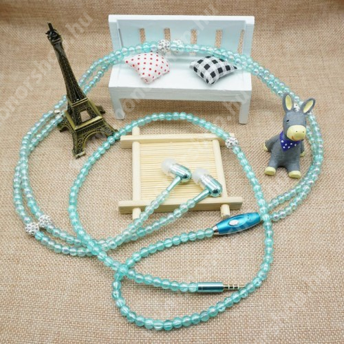 UNIVERZÁLIS sztereo headset - 3,5mm Jack, mikrofon, felvevő gomb, mágneses, gyöngyökkel díszített 1,2m-es vezeték - VILÁGOSKÉK