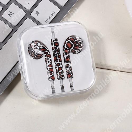 ACER Iconia Tab 8 A1-840FHD UNIVERZÁLIS SZTEREO headset - 3,5mm jack csatlakozó, felvevő gombos - LEOPÁRD MINTÁS