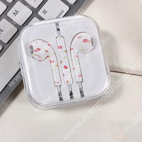 ACER Iconia Tab 8 A1-840FHD UNIVERZÁLIS SZTEREO headset - 3,5mm jack csatlakozó, felvevő gombos - VIRÁG MINTÁS