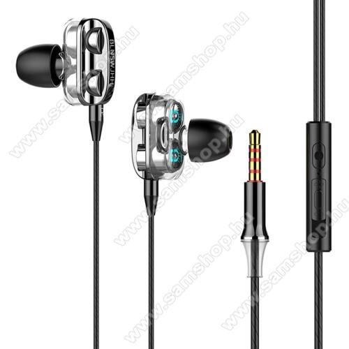 UNIVERZÁLIS sztereo headset - 3,5mm jack csatlakozó, négy hangszórós, cseppálló, beépített mikrofon, felvevő gomb, hangerő szabályzó, 1.2m hosszú kábel - FEKETE