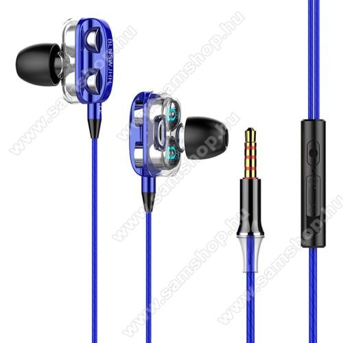 UNIVERZÁLIS sztereo headset - 3,5mm jack csatlakozó, négy hangszórós, cseppálló, beépített mikrofon, felvevő gomb, hangerő szabályzó, 1.2m hosszú kábel - KÉK